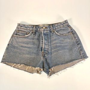 Reformation high waisted button fly shorts